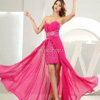 Popular Prom Dresses — Sheath/Column Sweetheart Chiffon Asymmetrical Fuchsia Rhinestone Evening Dress at Dresseshop.ca