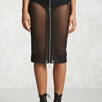 Sheer Mesh Zipper Skirt