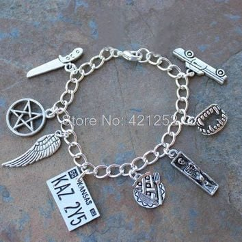 12pcs Supernatural  inspired bracelet Sam and Dean Demon hunters horror occult  charm bracelet