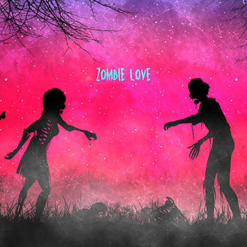 Zombie love,digital print,art,walking dead,skull,artwork,pink,zombies,love,home decor,poster,print
