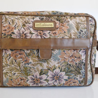 Vintage Floral Tapestry Carry On Bag Luggage Weekender Overnight Bag by Leisure
