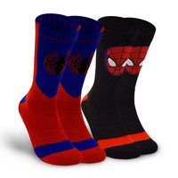 Spiderman Black Red and Blue Socks (2 Packs)
