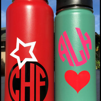 Monogram + Icon Decal Personalized for Hydro Flask Water Bottle Custom Vinyl