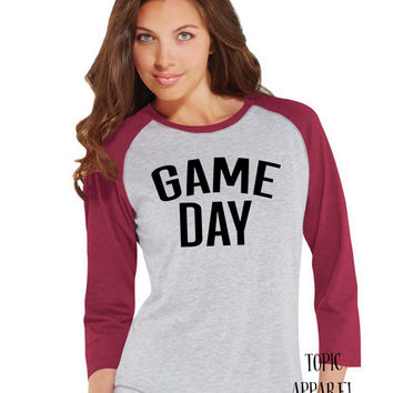 GAME DAY- baseball style 3/4 length sleeve t-shirt- fall t-shirt- football shirt