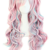 Lolita anime Cosplay Wig Mix color Long Curly with clip in 2 ponytails full hair Wigs costume party