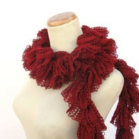 Ruffled Swirly Scarf - Red