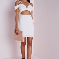 CREPE BUST CUP CUT OUT BODYCON DRESS WHITE