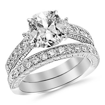 CERTIFIED | 2.03 Ctw Three Stone Vintage With Milgrain & Filigree Bridal Set with Wedding Band & Engagement Ring w/ Cushion 1 Carat Forever One Moissanite Center (Platinum, Yellow, White, Rose)