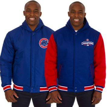 Men's Chicago Cubs JH Design Royal/Red 2016 World Series Champions Polytwill Fleece Reversible Hooded Jacket