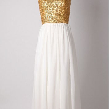 Gold Sequins Chiffon Bridesmaid Dress Prom Dress