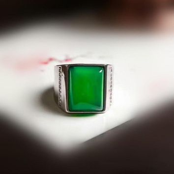 Yu Xin Yuan Fine Jewelry Natural Green 925 Silver Inlaid Pure Chalcedony Ring for men brave good lucky