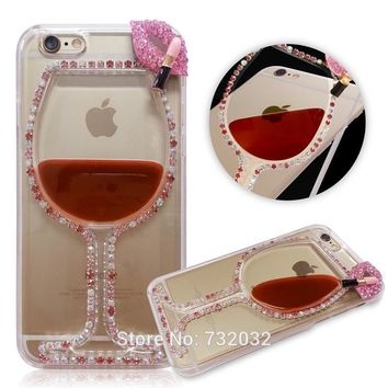 for iPhone 4s 5s SE 6 6s 7 Plus 3D Bling Rhinestone Red Wine Cup Lips Liquid Phone Case Cover