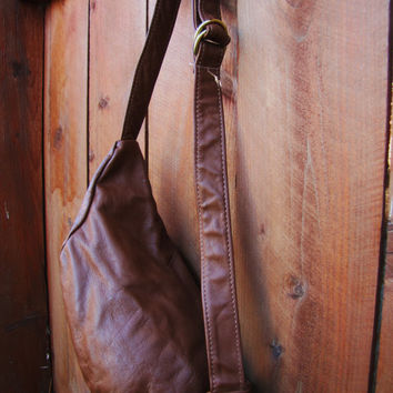 vintage chestnut brown leather Jansport fanny pack. hipster leather fanny pack. Jansport bag.