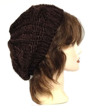 Women's Dark Brown Slouchy Crochet Beanie Beret Cap, Winter Warm Crochet Slouchy Beanie Hat Cap, Oversized Baggy Beanie Hat Tam