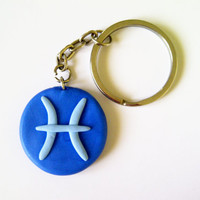Pisces Horoscope Keychain or Pendant - Handmade of Polymer Clay - Selsal