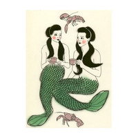 Mermaid illustration (print)  Crustacean cafe  -  4 X 6 mermaids print
