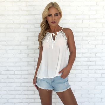 Southern Charm Embroider Blouse in White