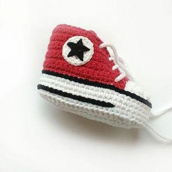LMFUG7 Red crochet shoes, Crochet Converse shoes, Crochet baby shoes, Converse style baby sho