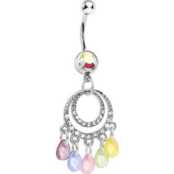 Multi-Color Pastel Chandelier Belly Ring