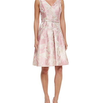Floral Jacquard Belted Dress,