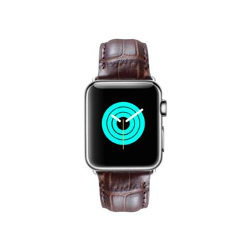 MINTAPPLE Alligator Leather Apple Watch Strap - Dark Brown