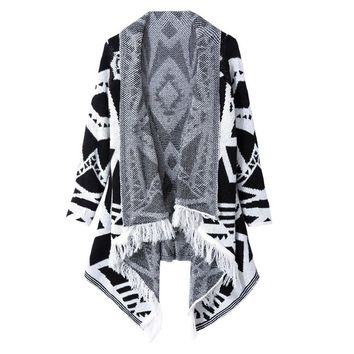 Stylish Turn-Down Collar Fringed Long Sleeve Geometric Cardigan For Women
