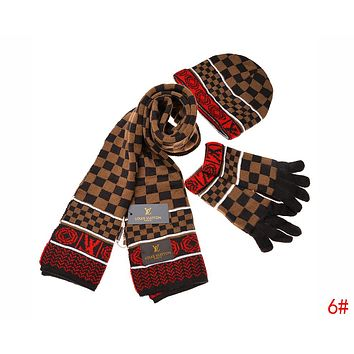Louis Vuitton LV New Popular Women Men Plaid Pattern Warm Knit H 3cd4e38934e7