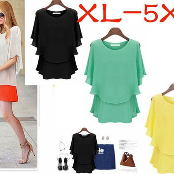 New arrival Latest Women Lady Chiffon Summer plus large size Lotus Sleeve Double shirt Sundress = 1704133828