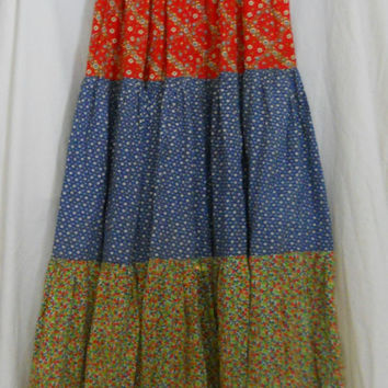 Hippie Skirt  Boho Bohemian Long Full Floor Length Handmade Peasant Tiered Festival Skirt Vintage 60s Size 6