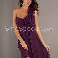 Free Shipping: Grape A-line One-shoulder Flower Knee Length Chiffon Graduation Dress -sinospecial.com