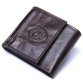 Vintage Genuine Leather Cowboy Trifold Wallet For Men