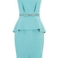 Oasis Shop | Light Blue Peplum Belted Dress | Womens Fashion Clothing | Oasis Stores UK