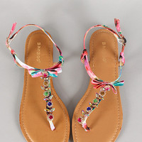 Bamboo Watercolor Jeweled Bow T-Strap Flat Sandal