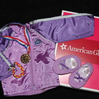 American Girl McKenna's TEAM GEAR Purple JACKET Bracelet MEDAL Slippers for Doll