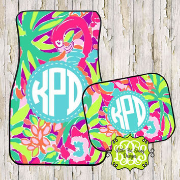 Car Mats Preppy Personalized Monogrammed Floor Car Mat Initial Tropical Preppy Flowers