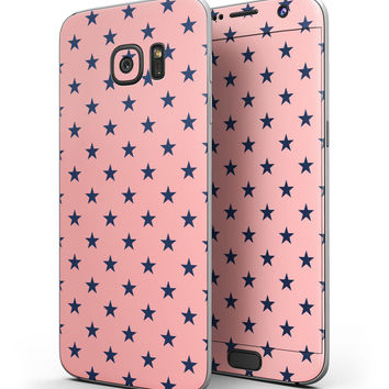 Navy Stars Over Coral Pattern - Full Body Skin-Kit for the Samsung Galaxy S7 or S7 Edge