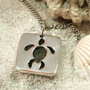 Sea Turtle Necklace with Sterling Silver Pendant