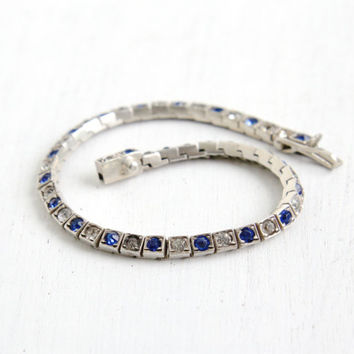 Antique Art Deco Sapphire Blue & Clear Rhinestone Bracelet- Vintage 1920s 1930s Sterling Silver Linked Formal Jewelry