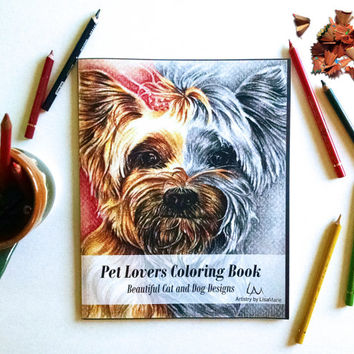 Coloring Book for Adults, Coloring Book Pages, Adult Coloring Book, Pet Lover, coloring book, coloring page, coloring dog, coloring cat