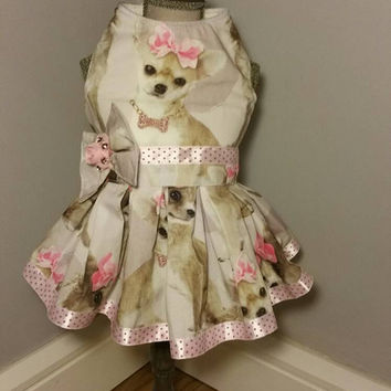 Dog dress - size small - handmade pet clothes - cute chihuahua dress with beautiful bow - custom made dog clothes
