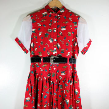 Vintage Little Girl's Western Themed Philly California Summer Cowgirl Dress