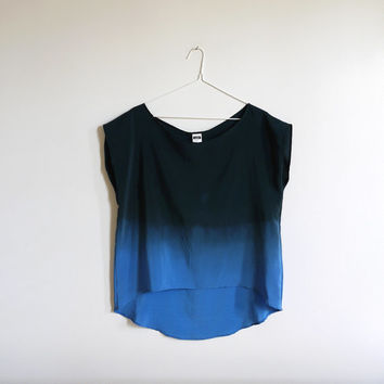 Ombre Silk Shirt.  An Ode to Rothko No. Two - Indigo.
