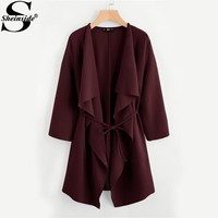 Sheinside Waterfall Collar Trench Coat Women Pocket Front Wrap Burgundy Long Sleeve With Belt Outerwear Autumn Elegant Coat