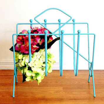 Turquoise Magazine Rack Towel Holder Coastal Beach Cottage Decor Aqua Blue painted Mid Century office file organizer bathroom or craft rack