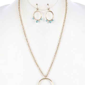 Natural Stone Charm Coil Wire  Wire Wrapped Link Chain Necklace Earring Set