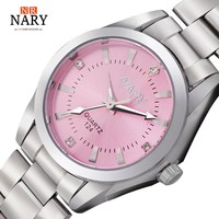 NARY Women's Luxury Rhinestone Stainless Steel Watch