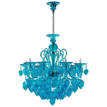 Bella Vetro Murano Glass 8 Light Chandelier | Aqua