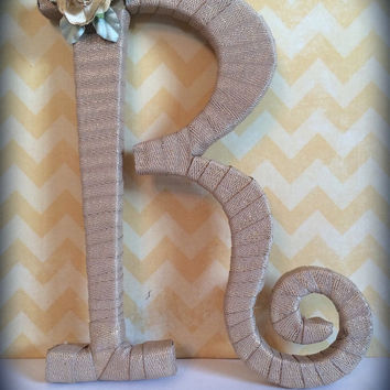 Handcrafted Decorative Monogram Letter R by Tightly Wound Designs