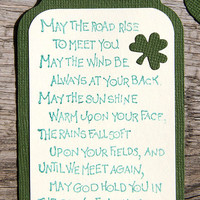 Irish Blessing Tags, May the Road Rise, Set of Handmade Green Tags, St. Patrick's Day, Mini Cards, Gift Tag, Irish Saying, Bookmark