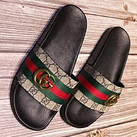 GUCCI Fashion New stripe more print leather women slippers shoes flip flop